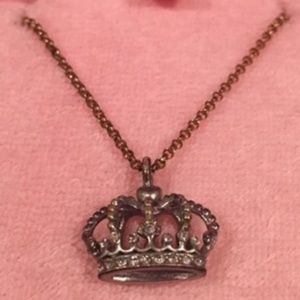 juicy couture gold necklace with silver crown